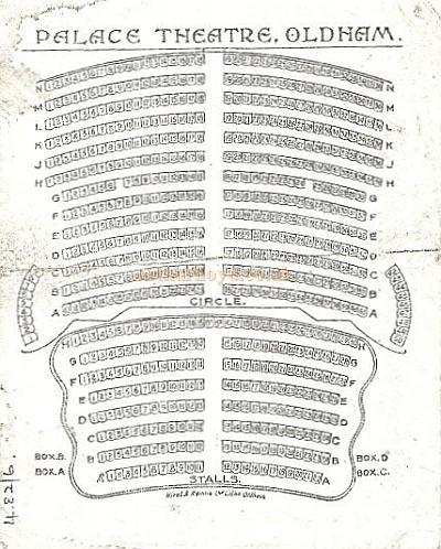 A seating plan for the Palace Theatre, Oldham - Courtesy Alex Balmforth.