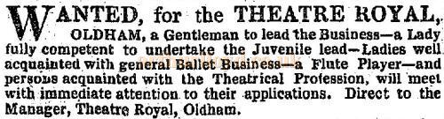 Theatre Royal, Oldham - an advertisement in the ERA of the 9th of January 1853