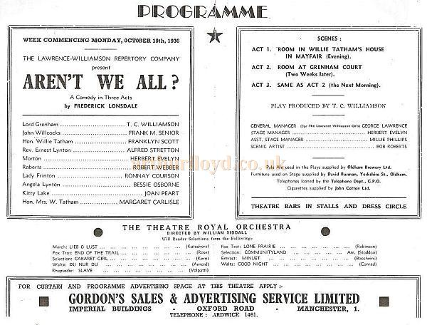 A Programme for 'Aren't We All?' at the Oldham Theatre Royal in October 1936 - Courtesy Alex Balmforth