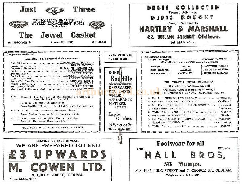 A Programme for 'Dr Jekyll and Mr Hyde' at the Oldham Theatre Royal in October 1937 - Courtesy Alex Balmforth.