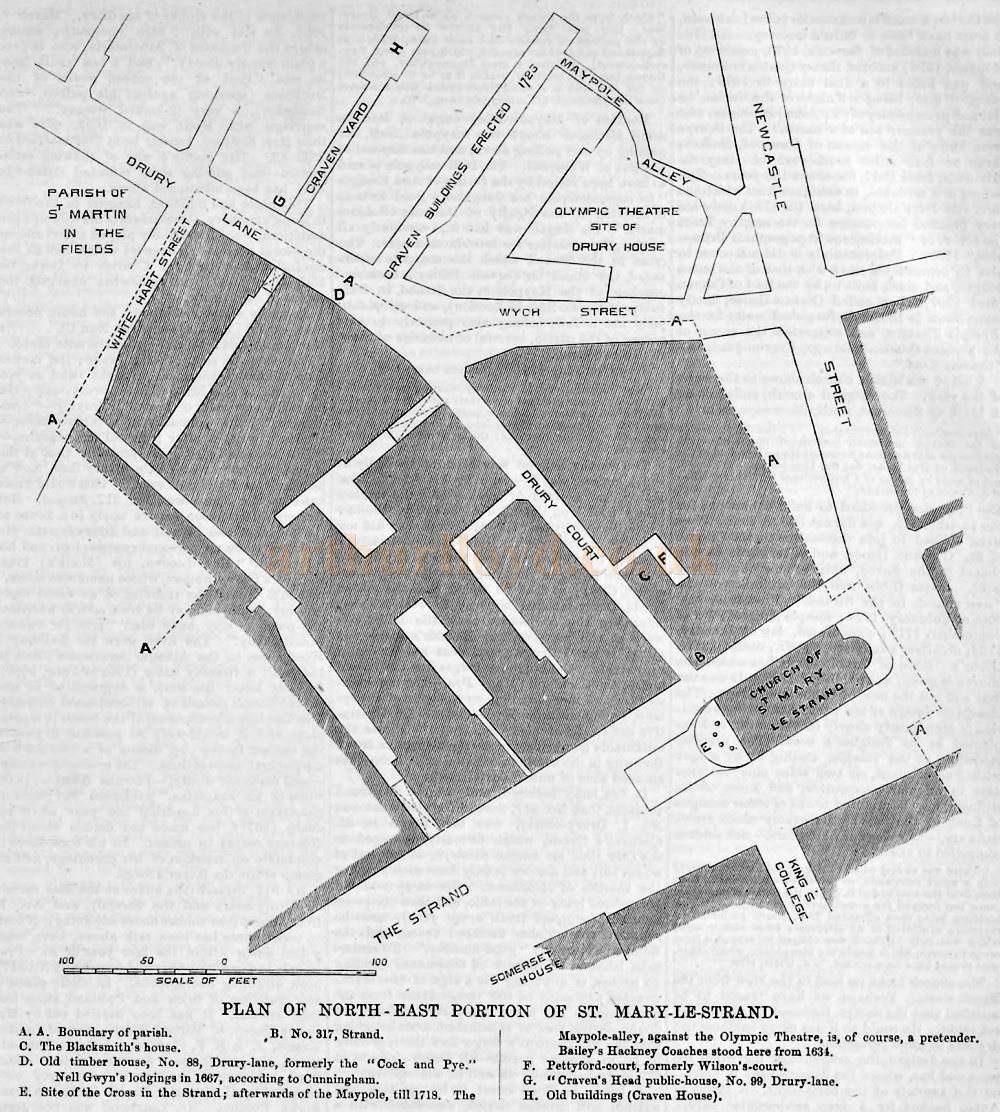 A Map showing the road layout before the Aldwych Reconstruction of 1902 including the site of the former Olympic Theatre - From The Builder, April 1st 1876.