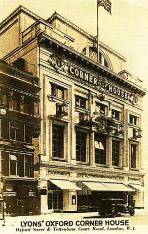 The Tottenham Court Road entrance of the J. Lyons' Corner House, built on the site of The Oxford Music Hall and Theatre in 1927.