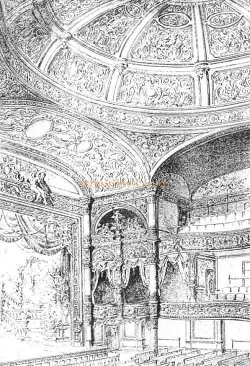 A sketch of the auditorium of the Oxford's Theatre.