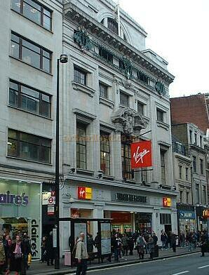 The Tottenham Court Road entrance to Richard Branson's Virgin Megastore in October 2004, which was originally built as a Lyon's Corner House on the site of the former Oxford Music Hall / Theatre - Photo M.L.