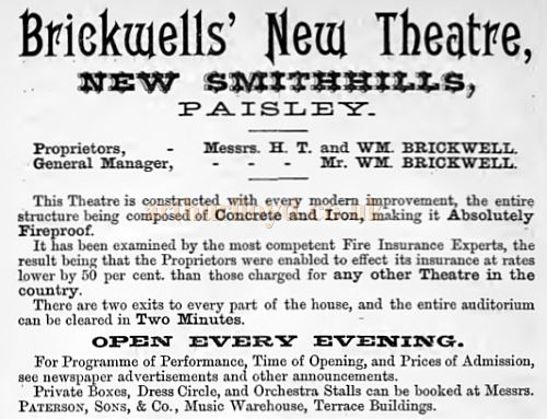 A Promotion card for Brickwells' New Theatre in Paisley, later named the Paisley Theatre - Courtesy Graeme Smith.