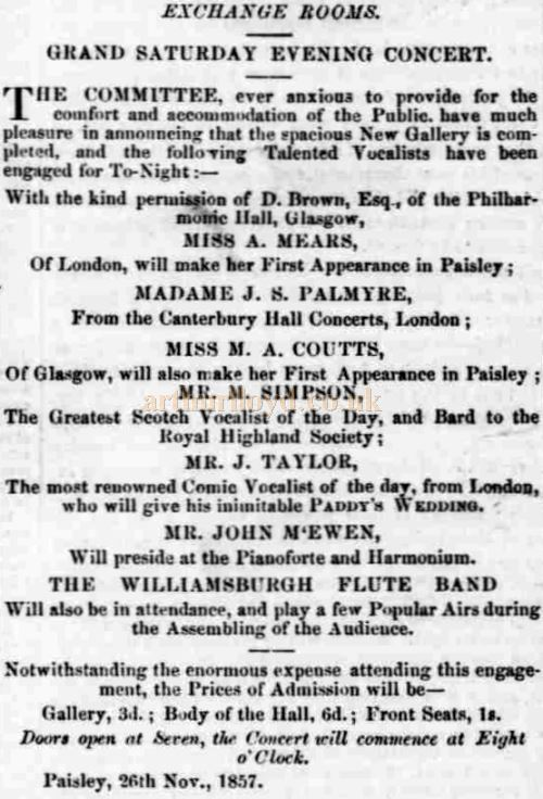An Advertisement for an Exchange Rooms Concert on the 26th of November 1857 arranged by Davie Brown of the Philharmonic Hall, Glasgow - Courtesy Graeme Smith.
