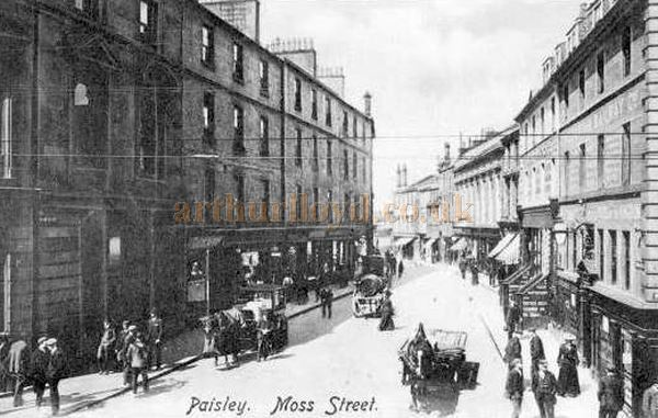 An Early Postcard of Moss Street, Paisley showing the Exchange Rooms Concert Hall, later Empire Music Hall, being the fourth building from the right - Courtesy Graeme Smith.