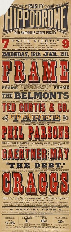 A Paisley Hippodrome Playbill for January 16th 1911 - Courtesy the University of Glasgow Scottish Theatre Archive.
