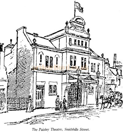 The Paisley Theatre, Smithhills Street, drawn just after its opening in 1890 - Courtesy Graeme Smith.