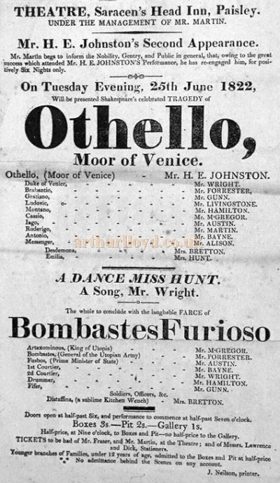 A playbill for a production of 'Othello' at the Saracen's Head Inn Theatre, Paisley on the 25th of June 1822 – Courtesy of Renfrewshire Libraries.