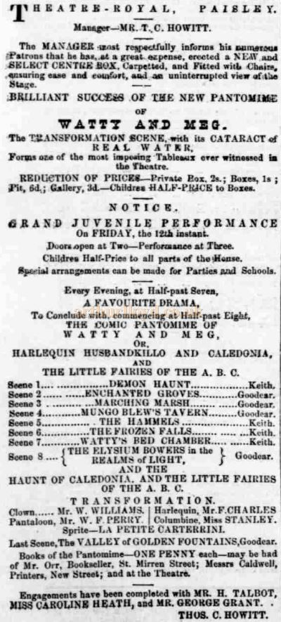 A Newspaper advertisement from January 1866 for the Pantomime at the Theatre Royal, Abercorn Street, Paisley under Thos C. Howitt - Courtesy Graeme Smith.