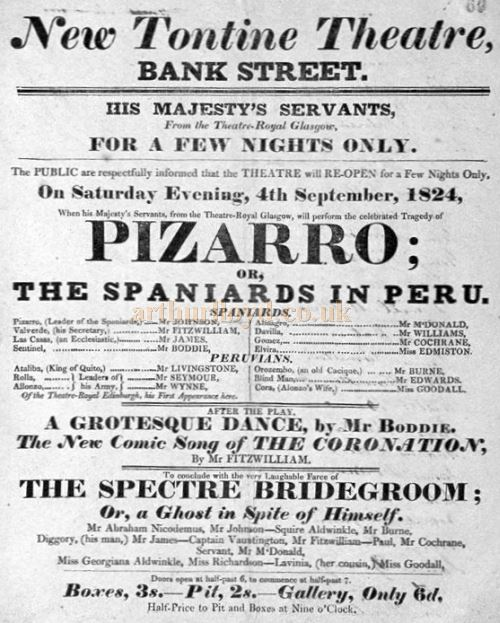 A Playbill for the New Tontine Theatre, Bank Street, Paisley in 1824 – Courtesy Renfrewshire Libraries.