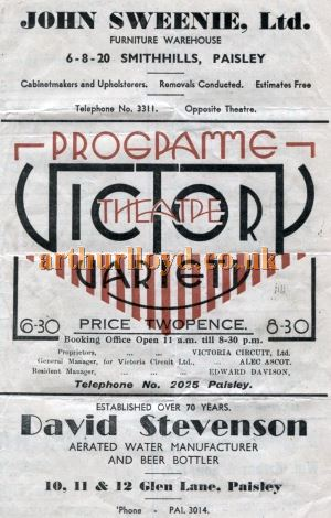 A Programme cover for the Victory Theatre, Paisley in the late 1930s - Courtesy the University of Glasgow Scottish Theatre Archive.