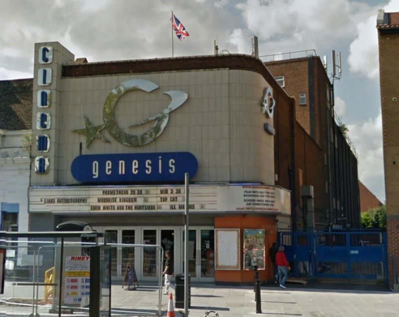 A Google StreetView Image of the Genesis Cinema, Mile End Road, which was constructed on the site of the former Lusby's Music Hall / Paragon Theatre - Click to Interact.