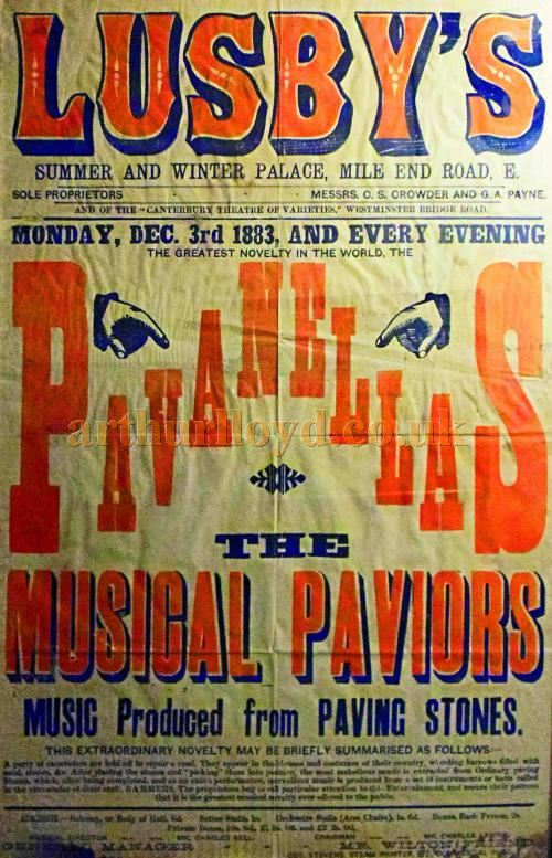 A Poster for 'The Musical Paviors' at Lusby's Summer and Winter Palace, Mile End Road in December 1883 - Courtesy Philip Mernick.