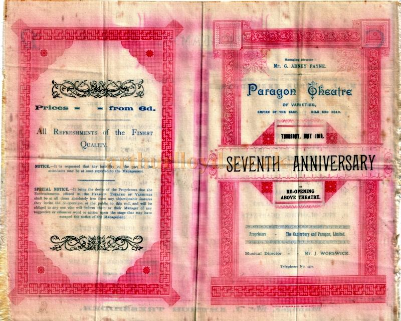 A Silk programme for the seventh anniversary of the Paragon Theatre, Mile End, on Thursday the 19th of May 1892