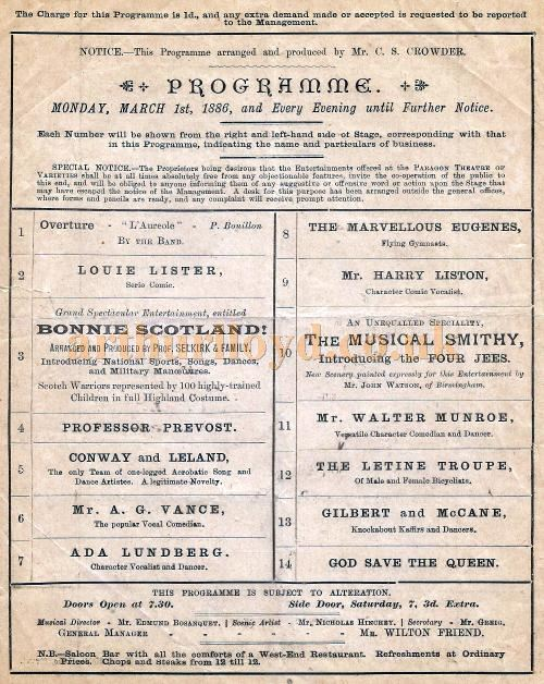 Cast Details from an early programme for the paragon Theatre, Mile End Road for March 1st 1886 - Courtesy David Garratt.