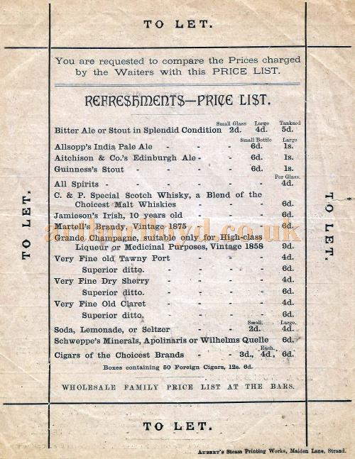 Refreshment Prices from an early programme for the paragon Theatre, Mile End Road for March 1st 1886 - Courtesy David Garratt.