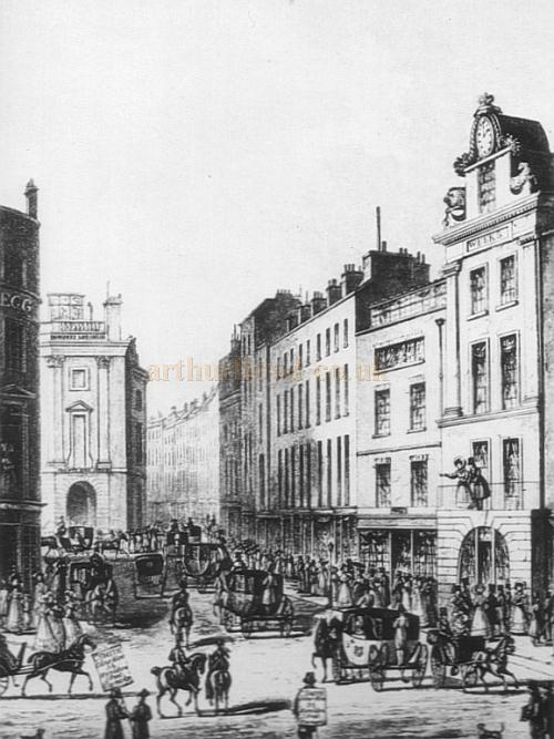 An image of Tichbourne Street around 1802 showing (near right) Week's Museum, the building which would later become part of the first London Pavilion, and the building which preceded the Black Horse Inn which had not yet been built at this time.