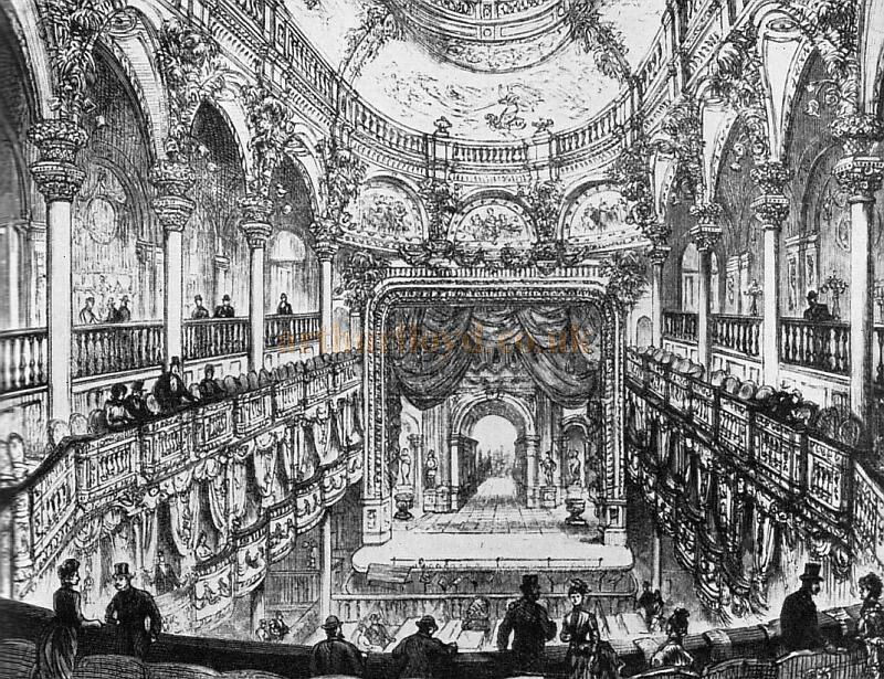A sketch of the auditorium of the 1885 London Pavilion which shows the ornate work of the Plastic Decoration Company. The Theatre was constructed by the Peto Brothers with an interior designed by James Ebenezer Saunders and elevations by R. J. Worley, at the time it was the most lavishly appointed variety hall yet seen in London.
