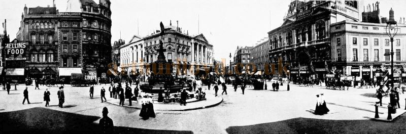 Piccadilly Circus showing the London Pavilion and Criterion Theatre in 1907 - From the 'Premier Photographic View Album of London' 1907
