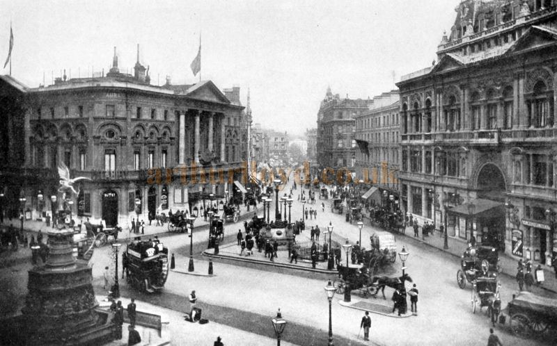 Piccadilly Circus showing the London Pavilion and Criterion Theatre - From 'London Described By Great Writers' by Esther Singleton, 1907.