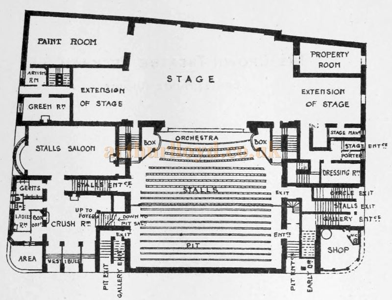 A Plan of the Crown Theatre, Peckham - From the Building News and Engineering Journal 29th April 1898.