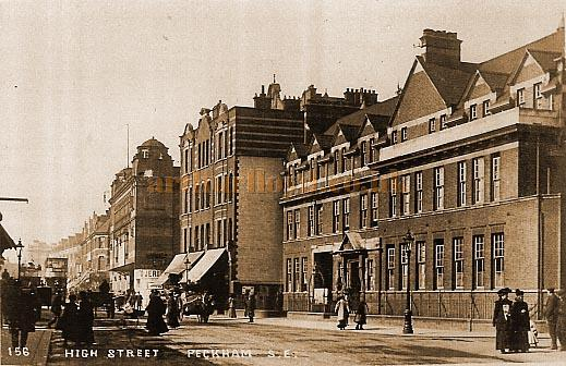 The Crown Theatre and the local Police Station, High Street Peckham in a 1905 postcard - Courtesy Graham Hoadly.
