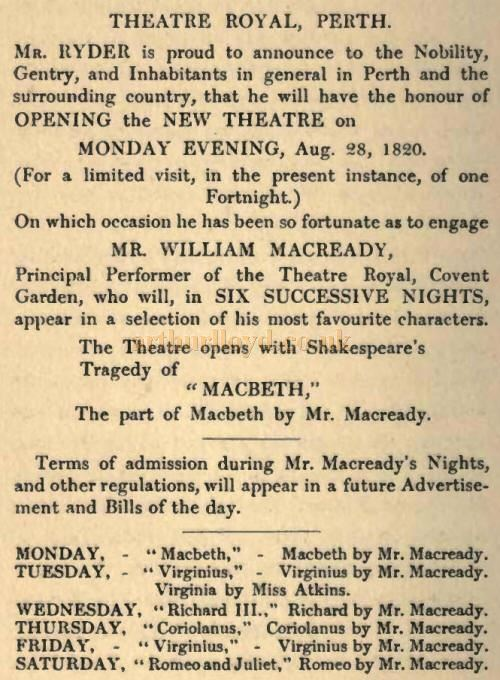 An 1820 advertisement for the opening of Perth Theatre Royal - Courtesy Graeme Smith.