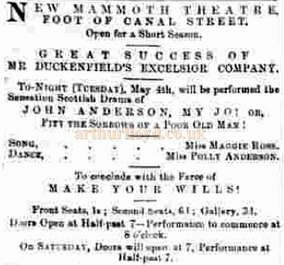 An advertisement for Duckenfield's Theatre in May 1869 - Courtesy Graeme Smith.
