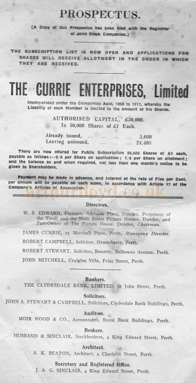 The Prospectus for the building of the Alhambra Theatre, Perth by The Currie Enterprises LTD in 1921 - Kindly Donated by Condra Kerr, whose Great Uncle was James Currie. Click to see more of this Prospectus.