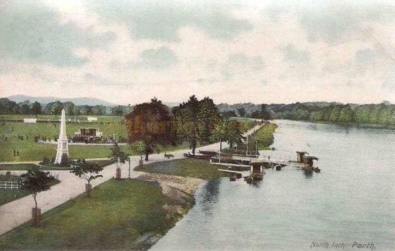 A Postcard of the North Inch, Perth around 1904 showing early Pierrots Stance close to the boat-stations on the banks of the Tay - Courtesy Graeme Smith.