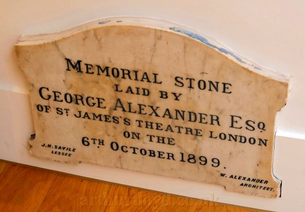 Perth Theatre's Memorial Stone, Laid by George Alexander on the 6th of October 1899 - Courtesy Derek Mathieson. The Stone is today situated in the now restored original entrance to the Theatre.
