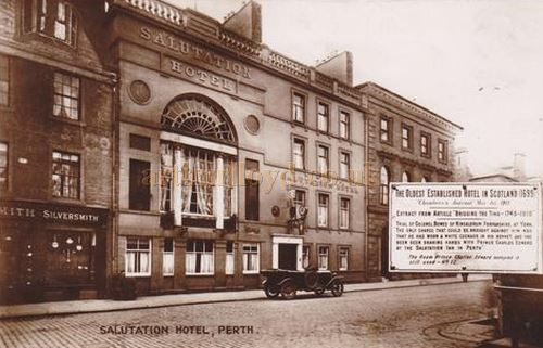 An early postcard showing the Salutation Hotel, Perth, and next to it, the former Theatre Royal - Courtesy Graeme Smith.