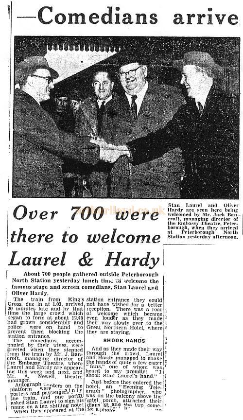 Laurel and Hardy arriving at Peterborough North Station before performing at the Embassy Theatre - Press Cutting from the Evening Telegraph, 1952.