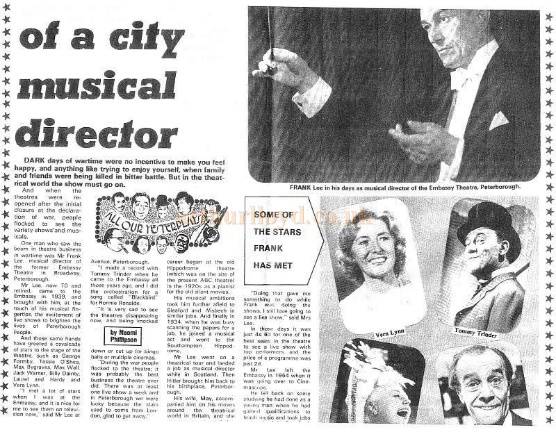 'Memories of a Musical Director' From the Evening Telegraph February 11th 1976 on Framk Lee