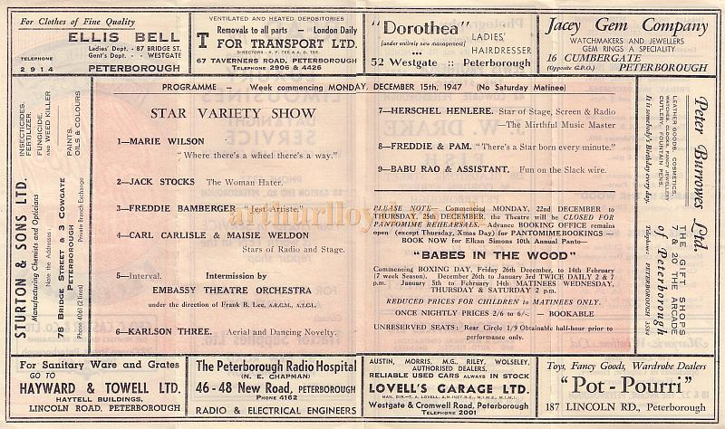 Variety Programme for the Embassy Theatre, Peterborough for the week of December 15th 1947.