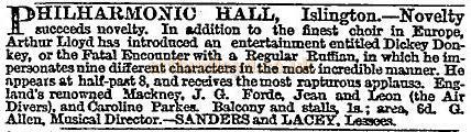 Arthur Lloyd at the Philharmonic Hall - A notice carried in the Times of Thursday, February 12, 1863.