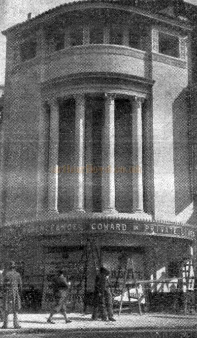 The Phoenix Theatre's main entrance advertising 'Private Lives' just before its opening in September 1930 - From the Stage Newspaper, 25th of September 1930.