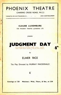 A Programme for 'Judgment Day' by Elmer Rice at the Phoenix Theatre in 1939 - Kindly Donated by Clive Crayfourd.