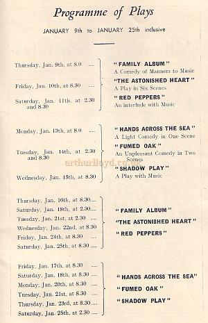 The Programme of Plays within the 'To-Night at 8.30' season - from a Programme for 'To-Night at 8.30' at the Phoenix Theatre in 1936.