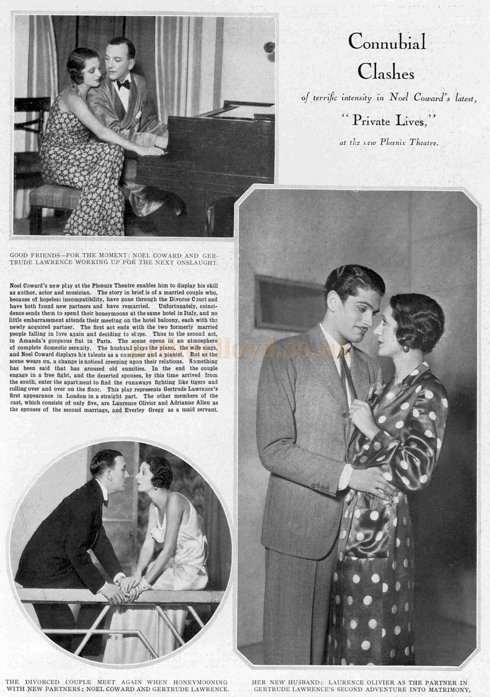 An Illustrated Article on the Opening Production of 'Private Lives' at the Phoenix Theatre in 1930 - From the Illustrated Sporting and Dramatic News, 27th of September of 1930.