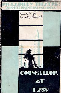 Programme for 'Counsellor At Law' at the Piccadilly Theatre in 1934.