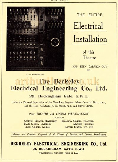 An advertisement for the Electrical Installation at the Piccadilly Theatre by Berkeley Electrical Engineering Co., Ltd - From the Souvenir Programme produced for the opening of the Theatre on the 27th of April 1928 - Courtesy Adam Harrison.