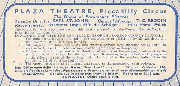 Plaza Theatre information - From a 1930s programme for 'The Perfect Specimen' - Courtesy Hugh McCullough of CinePhoto.co.uk.