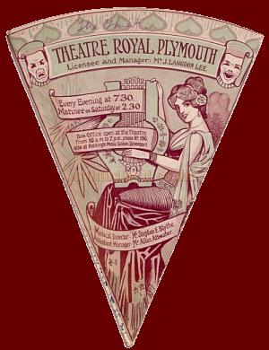 A programme in the form of a fan, for 'The Thief' at the Theatre Royal, Plymouth for the week beginning on Monday March the 21st 1910 - Click to see the whole programme.