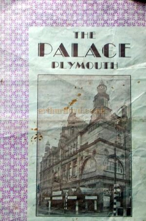 A programme for a variety show followed by a production of the Piccadilly Hotel Floor Show 'Piccadilly Playtime' at the Palace Theatre, Plymouth in 1942 - Courtesy Roy Cross.