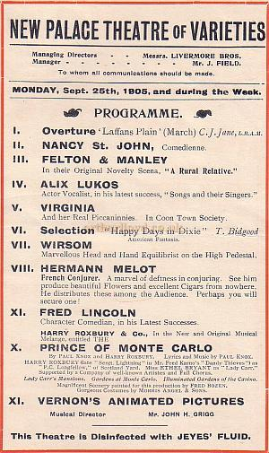 A Variety Programme for the New Palace of Varieties Theatre for September the 25th 1905