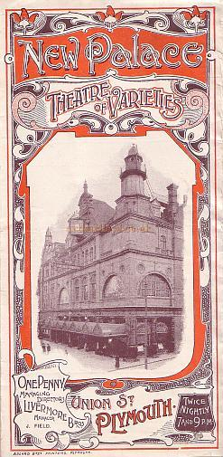 A Variety Programme for the New Palace of Varieties Theatre for September the 25th 1905.