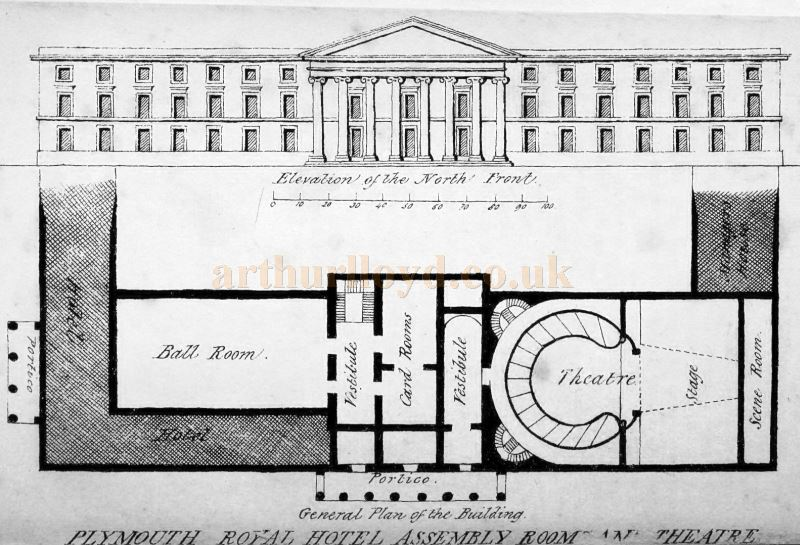 A Plan of the Plymouth Royal Hotel, Assembly Room, and Theatre - From 'Nettleton's Guide to Plymouth, Stonehouse, Devonport, and to the Neighbouring Country' by George Wightwick 1836.